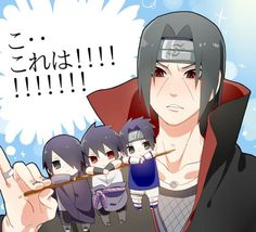 LOL, Itachi has 3 different aged Sasukes on a stick