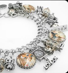 London Charm Bracelet, Silver Charm Bracelet, England Jewelry, London Bracelet - Blackberry Designs Jewelry