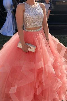 Sweet 16 dresses - 2 Pieces Beaded Tulle Princess Prom Dress Custom Made Long Quinceanera Dress Fashion School Dance Dresses Sweet Dress – Sweet 16 dresses Princess Prom Dresses, Cute Prom Dresses, Pageant Dresses, 15 Dresses, Spring Dresses, Homecoming Dresses, Pretty Dresses, Beautiful Dresses, Fashion Dresses