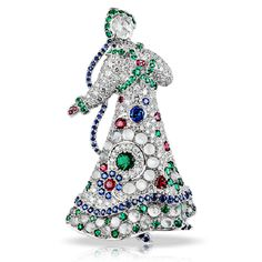 La Broche Lara a Kizhi. One of the series of figural brooch-pendants, with maidens dressed in elaborate gem-encrusted costumes, based on tra...