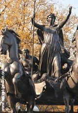 Boadicea    Boudica was a queen of the Iceni tribe who led an uprising against the Roman Empire in AD61 and razed London. Perhaps ironically, her myth was built up at the height of the British Empire - during the reign of Queen Victoria - with this statue by Thomas Thornycroft erected in 1905. Note her chariot has no reins.    Westminster Bridge WC2  Tube: Westminster