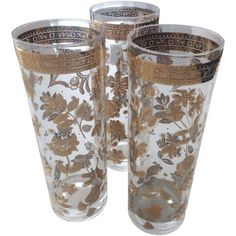 Vintage Gold Floral Drinking Glasses - Set of 6 on Chairish.com