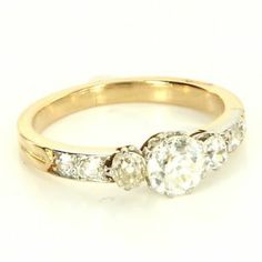 Antique Art Deco 18 Karat Yellow Gold Platinum Diamond Engagement Ring Vintage $3995