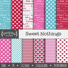 Valentines Day Digital Paper Typography Scrapbooking от Pininkie