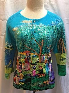 Michael Simon Sweater Small Seurat Sunday Afternoon Grande Jatte Impressionist   #MichaelSimon #Cardigan #Casual