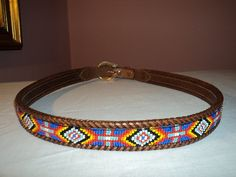 Indian Beaded Belts for Women | BEAN Indian Beaded Bead Leather Belt 38 Mens Ladies Unisex Western ...