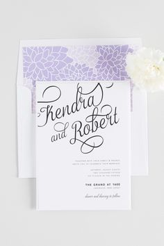 Whimsical Wedding Invitations with Large Calligraphy and a Floral Envelope Liner