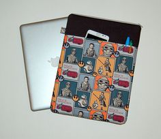 MacBook Pro / MacBook Air / iPad / Microsoft Surface / Dell - Padded Sleeve Cover - Handcrafted from STAR WARS Rey and BB8 Fabric