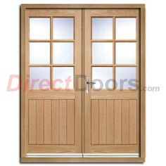 cottage 6 pane oak double door and frame set with clear double glazing