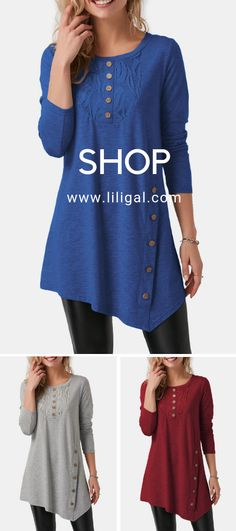 Button Detail Asymmetric Hem Blue T Shirt Pretty Outfits, Cool Outfits, Casual Outfits, Fashion Outfits, Womens Fashion, Online Clothing Sites, Clothing Items, Sweaters For Women, T Shirts For Women