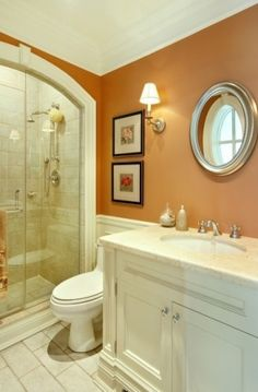 Guests don't take baths... take out the tub and do glass enclosed shower!!! ALSO love this wall color