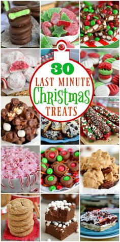 30 Last Minute Christmas Treats that you can make just in time for Christmas! Lots of great recipes here that take just a handful of ingredients and less than 15 minutes! // Mom On Timeout christmas desserts creative Easy Christmas Treats, Christmas Deserts, Christmas Goodies, Holiday Treats, Holiday Recipes, Christmas Recipes, Christmas Candy, Christmas Holidays, Food Gifts For Christmas