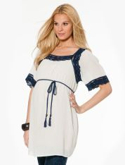 Jessica Simpson Short Sleeve Decorative Trim Maternity Blouse.