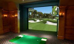 Man Cave - Full Swing Golf Simulator - traditional - home theater - san diego Indoor Golf Simulator, Golf Room, Golf Pride Grips, Golf Simulators, Rancho Cucamonga, Man Room, Home Theater, Theatre, Traditional House