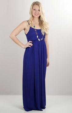 So much to say, but this classic maxi dress really speaks for itself! An easy and simple maxi dress, Sideline Sweetie SS2943NVY has soft jersey fabric with a high, elastic waist. The thin tank strap is so simple and cute.