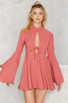 Nasty Gal Fool For You Bell Sleeve Dress