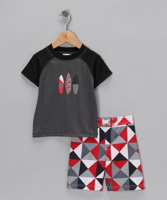 Take a look at this Gray Surf Rashguard & Boardshorts - Boys by Baby Buns on #zulily today!