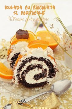 Chocolate roulade with oranges Chocolate Triffle Recipe, Chocolate Roulade, Chocolate Smoothie Recipes, Chocolate Frosting Recipes, Chocolate Shakeology, Chocolate Crinkles, Homemade Chocolate, Lindt Chocolate, Chocolate Drizzle