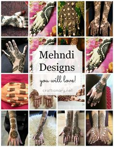 35 Mehndi Designs – Easy and simple for brides and party – Craftionary Henna entwirft New Mehndi Designs, Henna Tattoo Designs, Diy Tattoo, Henna Tattoos, Eid Crafts, Ramadan Crafts, Holiday Crafts, Henna Mehndi, Hand Henna