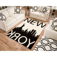 "Terra New York Rectangle Area Rug Black/White. 3'9""x5'6"" $39.00 (Online). Cute even though it doesn't really match our themes."