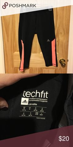 Adidas workout pants Black with bright orange stripes on side. So comfy and light. Adidas Pants Leggings