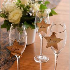 Etiquette étoile en bois brûlé avec cordon les 4 Wine Glass, Tables, Decoration, Tableware, Towel Paper, Burnt Wood, Mesas, Decor, Dinnerware
