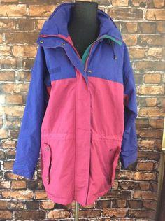 Vintage 90's Columbia Sportswear Coat Hooded Large Long Womens Nylon Drawstring #Columbia #BasicCoat #Casual