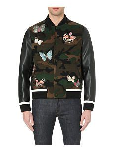 VALENTINO Butterfly-embroidered wool and leather bomber jacket