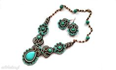 Soutache Earrings and Necklace with turquoise by SoutacheByMolicka