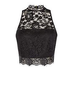 Black Lace Crop Top    New Look