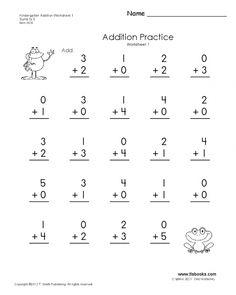 Kindergarten Math Worksheets Printable Addition - Math Worksheets Printable Kindergarten Addition Worksheets, Printable Math Worksheets, Worksheets For Kids, In Kindergarten, Printables, Addition Facts, Math Courses, Basic Math, Math For Kids