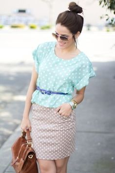 Mixing prints: large/small polka dots