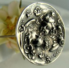 "GORGEOUS ART NOUVEAU SIGNED UNGER BROTHERS STERLING SILVER REPOUSSE 8"" HATPIN"