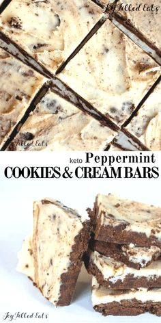 Peppermint Cookies and Cream Bars Low Carb Keto GrainFree GlutenFree NutFree SugarFree THM S these are a healthy cross between brownies fudge and peppermint Oreos They. Mini Desserts, Sugar Free Desserts, Gluten Free Desserts, Dessert Recipes, Holiday Desserts, Keto Holiday, Keto Recipes, Bariatric Recipes, Brownie Recipes