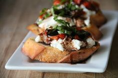 Bruschetta With Rosemary Roasted Tomatoes, Ricotta Cheese And Fresh Basil | Easy Eats and Tasty Treats