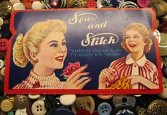 Sew and Stitch Needle Book Vintage Ad 40s by WillowValleyVintage