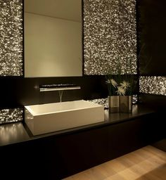 Modern Powder Room with Fantini 4901U Nostromo Consolle Wall-Mount Faucet, Hardwood floors, Wood counters, High ceiling - #bagno #bathroom #faucet #rubinetto #fantini #fratellifantini #fantinirubinetti #faucet #luxury #design #homeideas