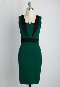 Lapel in Love Sheath Dress in Pine. Dressed in the dapper black details of this knit sheath dress, you find others falling in love with your style! #green #modcloth