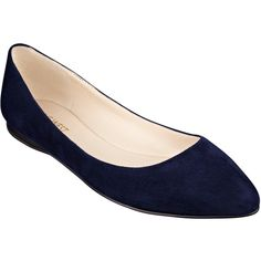 Nine West Speakup Pointed Toe Flats ($69) ❤ liked on Polyvore featuring shoes, flats, navy blue suede, navy shoes, flat pumps, suede shoes, navy flat shoes and navy blue shoes