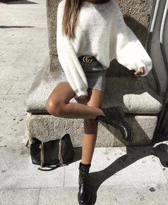 fluffy sweater + denim skirt @dcbarroso