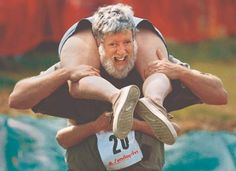 Wife Carrying World Championships, Sonkajärvi, Finland: Participants in the wife carrying championships aim to win a relay race while carrying their wives. The winner receives their wife's weight in beer. Relay Races, Video Clips, Family Photos, Couple Photos, Experiential, World Championship, Finland, Videos, Olympics