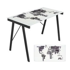 World map in text form, superimposed on to a desk. I should do my geography homework on this.