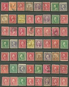 US valuable stamps collection of 56 from 1888 # 220 - 2¢ Washington - Franklin