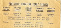 Ferry schedule to & from Algeciras-to-Gibraltar circa Rota Spain, Schedule, 1960s, Timeline, Sixties Fashion
