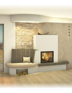 Modern and traditional tiled stove - Sigmund Fireplace Tv Wall, Living Room With Fireplace, Japanese Home Decor, Japanese House, Kitchen Ornaments, Tv Wall Decor, Tv Wall Design, Home Upgrades, Small House Plans