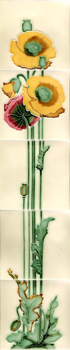Moulded Art Nouveau Tiles - Poppies