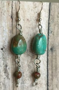 Turquoise Earrings, Dangle Earrings. Chunks of turquoise have been wire wrapped and dangling below are earthy jasper beads. The earrings are 2 inches in length.