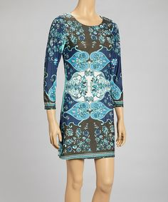 Take a look at this Blue & Brown Floral Paisley Shift Dress by Reborn Collection on #zulily today!