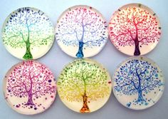 This is a set of six glass magnets made with colorful images of trees on glossy card stock br br Great gift for a neighbor friend or teacher or just Glass Magnets, Diy Magnets, Spring Tree, Rainbow Colors, Cool Art, Awesome Art, Decorative Plates, Arts And Crafts, Crafty