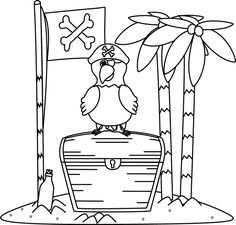 Black and White Pirate Parrot and Flag on an Island